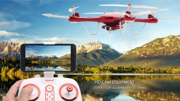 SYMA X5UW - WIFI-HD kamera + barometr + super ovládání telefonem ČERVENÁ