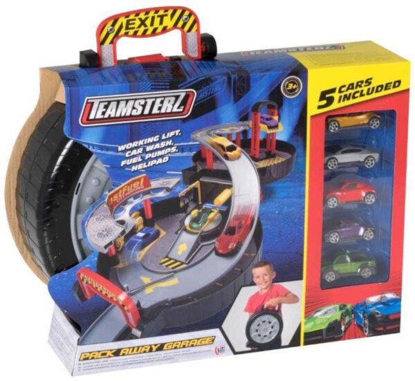 Teamsterz garáž skládací 2 patra herní set s myčkou a autíčky 5ks v kufříku
