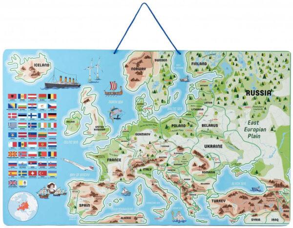 WOODY DŘEVO Hra mapa Evropy 3v1 naučné puzzle skládačka 75x45cm AJ