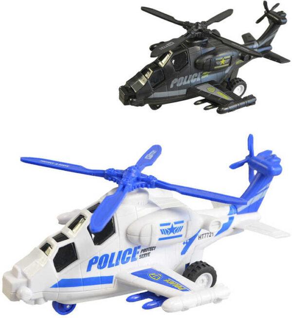 Vrtulník policejní plastový na setrvačník 20cm na baterie 2 barvy Světlo Zvuk