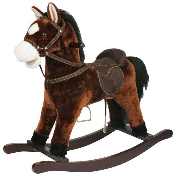 DŘEVO Kůň plyšový houpací 71cm tmavě hnědý nosnost 50kg
