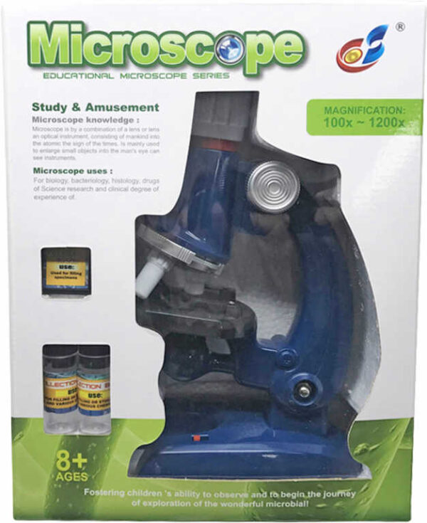 Mikroskop dětský zvětšení až 1200X set s doplňky na baterie Světlo