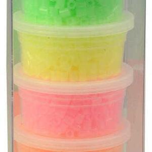 Korálky plastové k navlékání 6x 500ks neonové pastelové barvy v krabičce