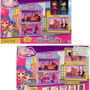 Domeček pro panenky 24x34cm herní set panenka 2ks s příslušenstvím v krabici