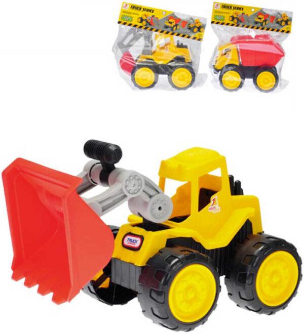 Baby stavební autíčko barevné 28cm volný chod 3 druhy v sáčku pro miminko