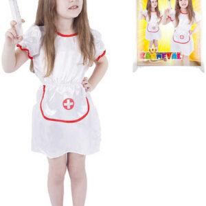 KARNEVAL Šaty zdravotní sestřička vel. M (116-128 cm) 6-8 let KOSTÝM