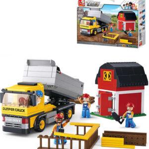 SLUBAN Stavebnice TOWN Sklápěcí vůz se stodolou set 384 dílků + figurka 4ks plast