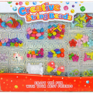 Velká sada korálků s provázkem výroba dětské bižuterie v krabici