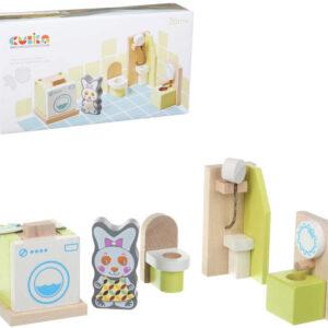 CUBIKA DŘEVO Koupelna nábytek pro panenky s figurkou a magnetickými oblečky
