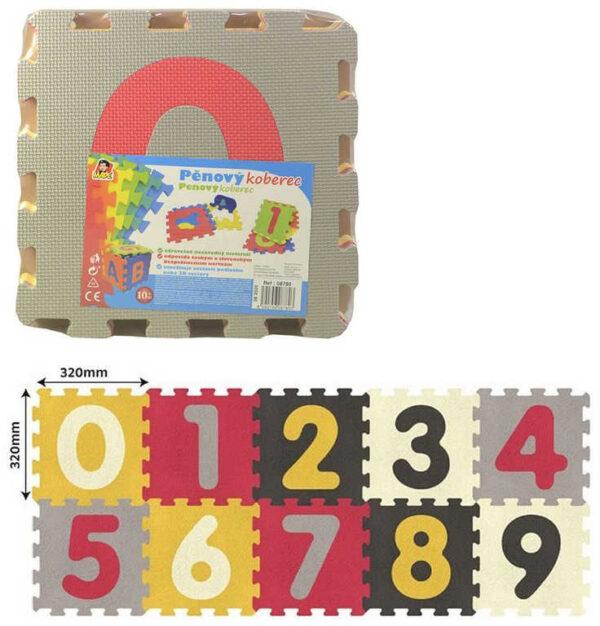 Baby puzzle soft pěnové čísla set 10ks měkké bloky 32x32cm na zem