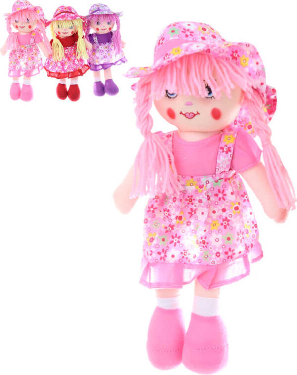 Baby panenka hadrová 35cm textilní holčička zpívá na baterie 3 barvy Zvuk