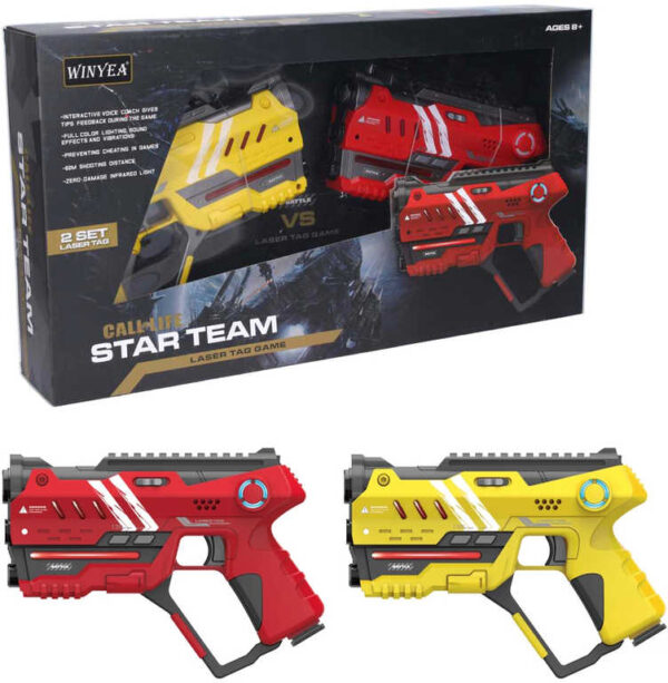 Hra Laser pro dva pistole žlutá + červená na baterie Světlo Zvuk plast