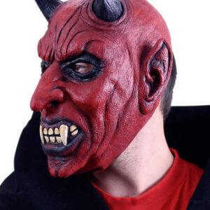 KARNEVAL Maska celoobličejová čert s ušima latex KARNEVALOVÝ DOPLNĚK