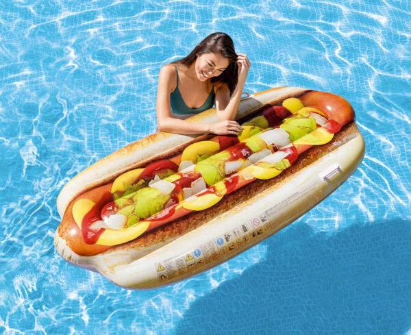 INTEX Lehátko nafukovací Hotdog 180x89cm matrace s úchyty na vodu 58771