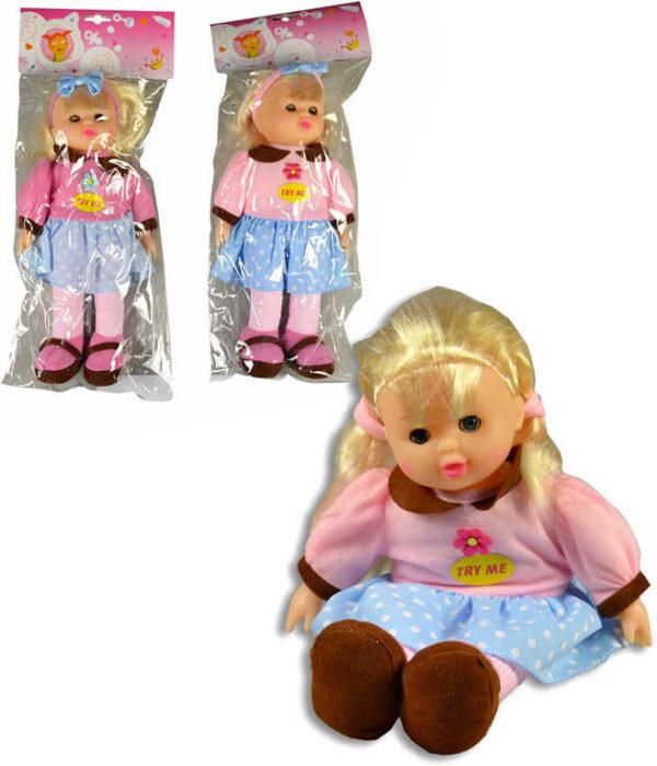 Panenka textilní s copánky 30cm látková 2 druhy Zvuk v sáčku