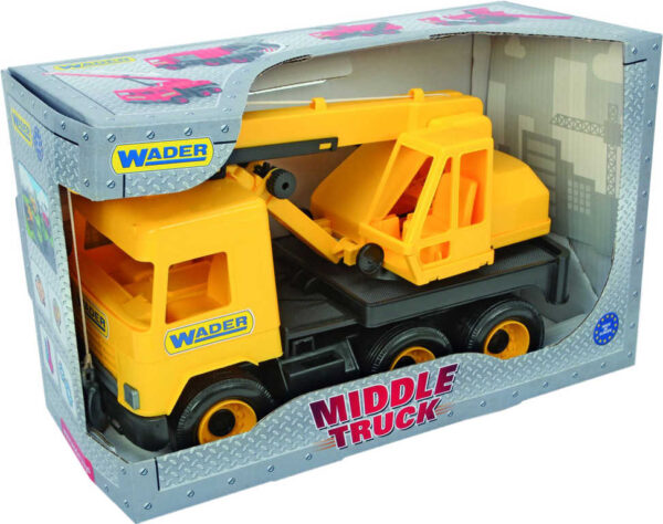 WADER Middle Truck auto jeřáb 38cm žluté plastové 32122