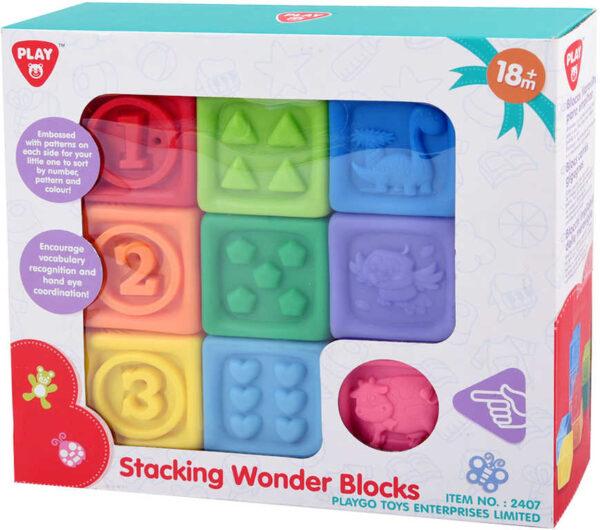 Baby soft kostky měkké gumové 5cm reliéfní zvířátka + číslice set 9ks v krabici