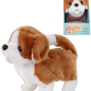 PLYŠ Pes hnědobílý 17cm chodící na baterie štěká Zvuk *PLYŠOVÉ HRAČKY*