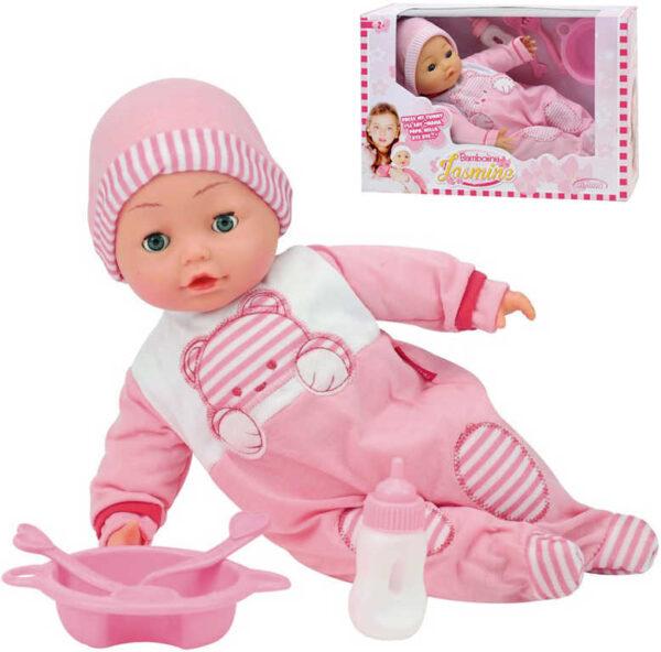 Panenka Bambolina Jasmine set miminko s doplňky na baterie mluví česky 50 slov Zvuk