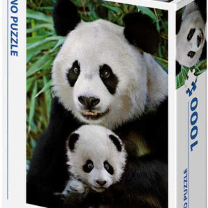 DINO Puzzle 1000 dílků Pandí rodina 47x66cm skládačka v krabici