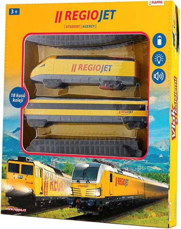 Vlak žlutý RegioJet Student Agency set dráha s lokomotivou a vagonem Světlo Zvuk