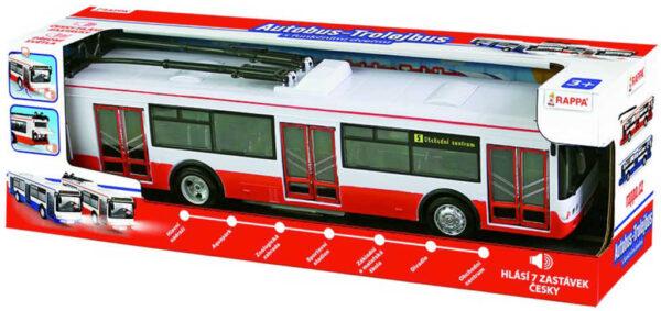 Trolejbus MHD 28cm česky hlásí zastávky funkční dveře na baterie Světlo Zvuk CZ