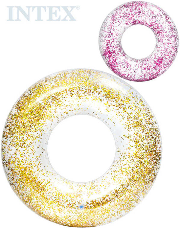 INTEX Kruh Glitter nafukovací flitrový 119cm plavací kolo do vody 2 barvy 56274