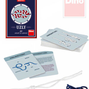 DINO Hra Uzly 50 návodů na vázání uzlů set s provázky v krabičce