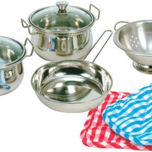 BINO Dětská sada nádobí kovové nerez sada 8 ks
