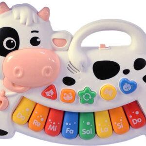 Baby piánko veselé kravička 19cm na baterie Světlo Zvuk