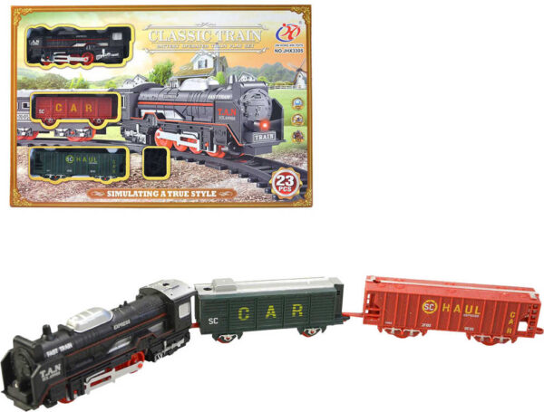 Vláček souprava vlaková mašinka + 2 vagony nákladní na baterie Zvuk plast