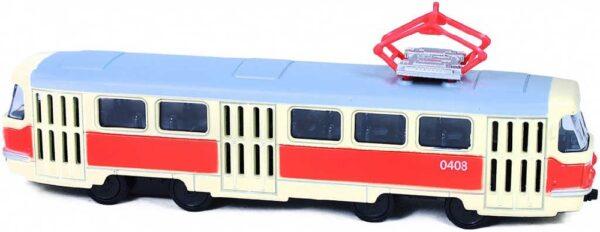 Tramvaj česká 16cm kovový retro model na zpětný nátah v krabici