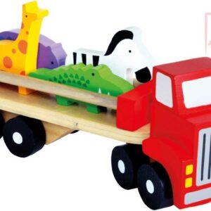 BINO DŘEVO Baby náklaďák herní set se 4 zvířátky *DŘEVĚNÉ HRAČKY*