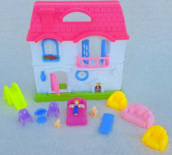 Domeček plastový pro panenky 17x19cm herní set s nábytkem a doplňky v krabici