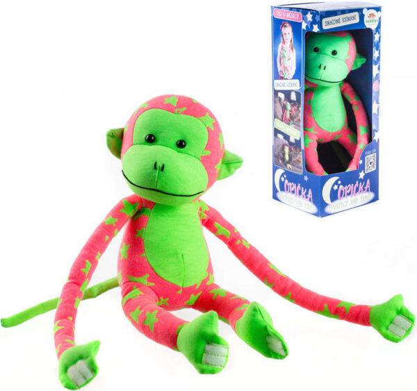 PLYŠ Baby opička svítící ve tmě 45cm růžovo-zelená s hvězdičkami fosforeskující