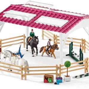 SCHLEICH Mobilní veterina s jízdárnou velký herní set s koníky 39 dílků plast