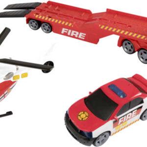 Teamsterz hasičský tahač set s autem a vrtulníkem na baterie plast Světlo Zvuk