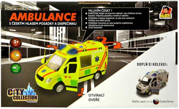 Auto City Collection česká ambulance na setrvačník 22cm na baterie CZ Světlo Zvuk