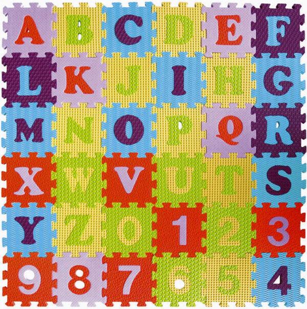 Baby Great puzzle soft pěnový koberec na zerm 90x90cm číslice a písmena 36 dílků