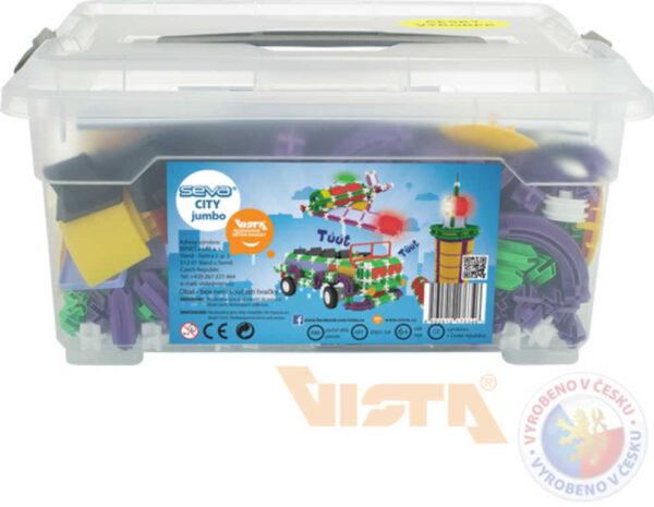 SEVA City Jumbo polytechnická STAVEBNICE 686 dílků v plastovém boxu
