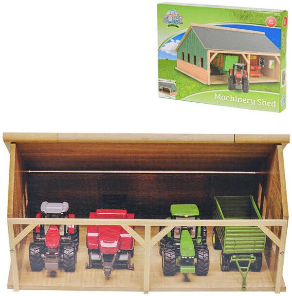 DŘEVO Farma garáž pro traktory 26x34x17cm otevírací střecha *DŘEVĚNÉ HRAČKY*