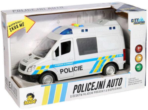 Auto policejní dodávka reálné hlášení na baterie CZ Světlo Zvuk