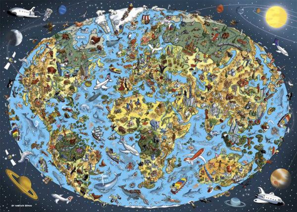DINO Puzzle mapa světa malovaná 66x47cm set 1000 dílků skládačka
