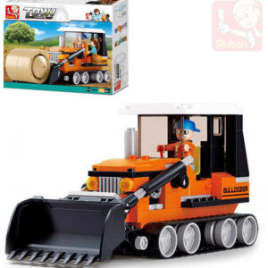 SLUBAN Stavebnice TOWN Kombajn (buldozer) set 165 dílků + figurka 2ks plast