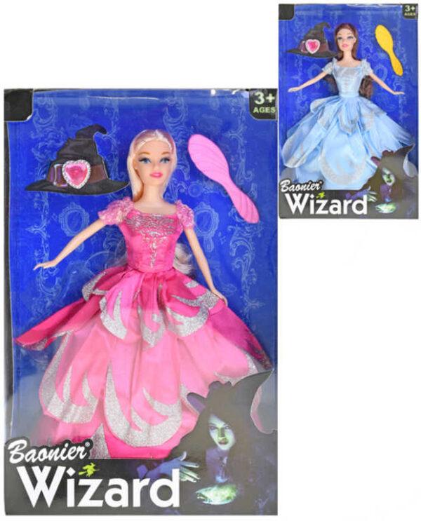 Panenka Wizard kouzelnice 30cm kloubová dlouhé šaty set s doplňky 2 barvy