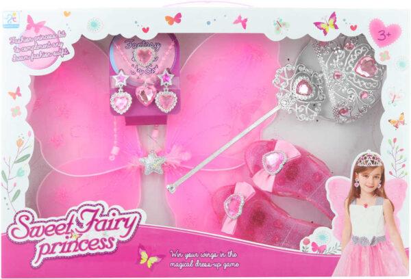 KARNEVAL Malá princezna set křídla s korunkou a doplňky v krabici