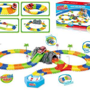 Dráha variabilní s tunelem a točnou set 144 dílků s autíčkem v krabici plast