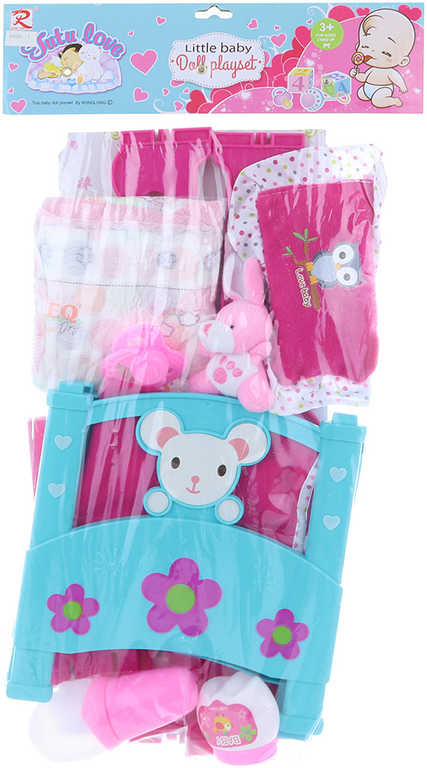 Postýlka růžovomodrá set s doplňky pro panenku miminko plast v sáčku