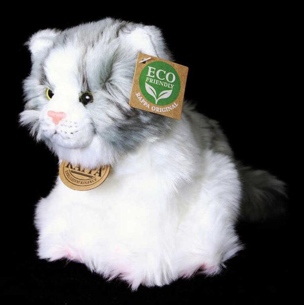 PLYŠ Kočka sedící 17cm bílo-šedá Eco-Friendly *PLYŠOVÉ HRAČKY*