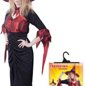 KARNEVAL Set šaty čarodějnice + klobouk dospělý vel.M KOSTÝM